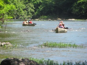 Volunteers canoeing down Rivanna River collecting trash.